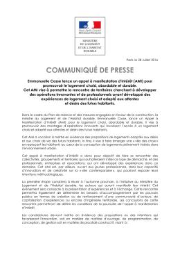 communiqué de presse - Ministère du Logement et de l`Habitat