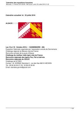 Calendrier des expositions françaises