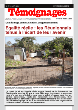 Egalité réelle : les Réunionnais tenus à l`écart de leur avenir