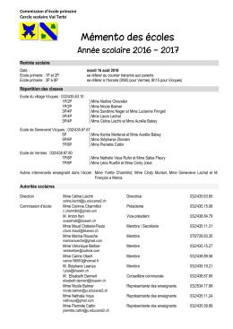 mémento des écoles 2016-2017