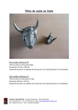 Têtes de vache en fonte