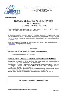 RECUEIL DES ACTES ADMINISTRATIFS N° 2016