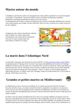 Marées autour du monde La marée dans l`Atlantique Nord
