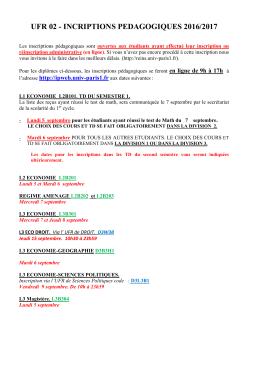 Inscriptions Pédagogiques 2016/2017
