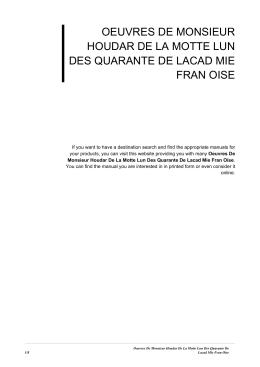 Oeuvres De Monsieur Houdar De La Motte Lun Des Quarante De
