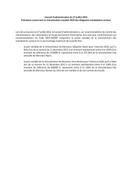 Décisions du Conseil d`administration du 27 juillet 2016
