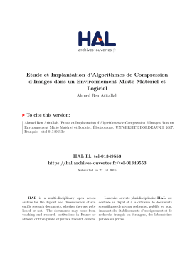 Etude et Implantation d`Algorithmes de Compression d - Tel