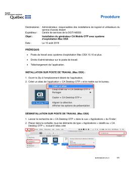 Procédure d`installation Mac