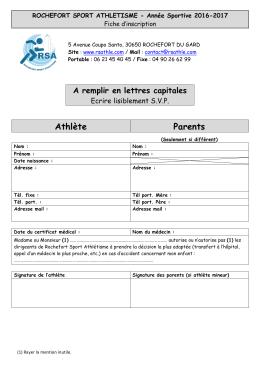 Fiche d`inscription - Rochefort Sport Athlétisme