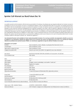 Termsheet (Final Terms) Vontobel Investment Banking SPRINTER