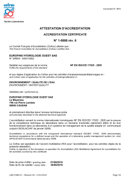 ATTESTATION D`ACCREDITATION N° 1-0888 rév. 6
