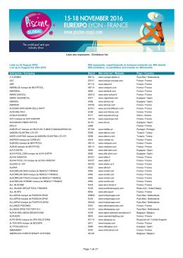 Liste des exposants en PDF