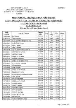 Liste principale des admis - Portail de la Faculté des Sciences et