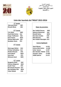 Liste des lauréats de l`INSAT 2015-2016