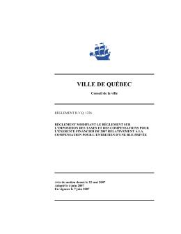 Avis de motion - Ville de Québec