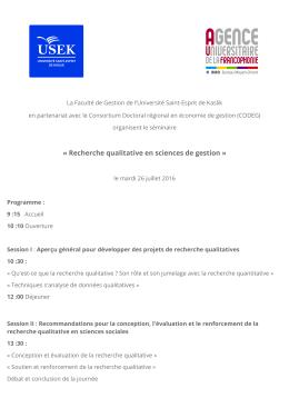 « Recherche qualitative en sciences de gestion »
