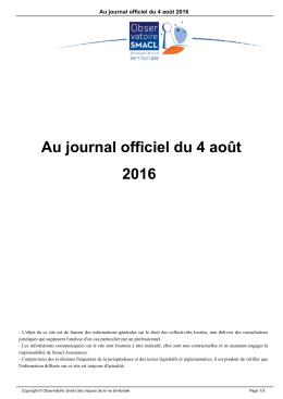 Au journal officiel du 4 août 2016 - Observatoire Smacl des risques