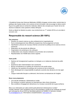 Responsable du ressort science (80-100%)