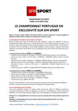 LE CHAMPIONNAT PORTUGAIS EN EXCLUSIVITÉ SUR SFR SPORT