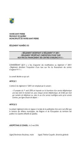 Règlement n° 313 - Havre-Saint