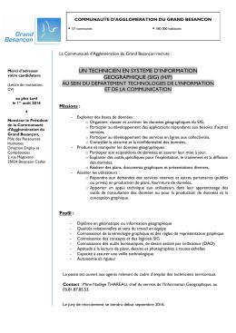 un technicien en systeme d`information geographique (sig) (h/f)