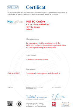 Voir le certificat ISO 9001:2015 - HES