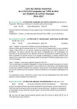 Enseignement d`ouverture de grec pour - Université Paris