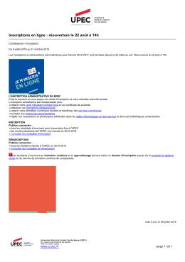 UPEC - Inscriptions en ligne : réouverture le 22 août à 14h