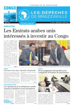 Les Emirats arabes unis intéressés à investir au Congo