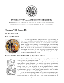 INTERNATIONAL ACADEMY OF HERALDRY Circular n° 181