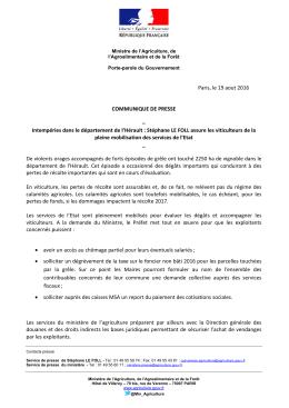 Intempéries dans le département de l`Hérault