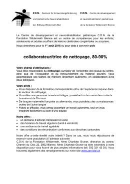 collaborateur/trice de nettoyage, 80-90%