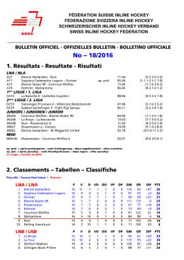 BO 18-2016 - Fédération Suisse de Inline Hockey
