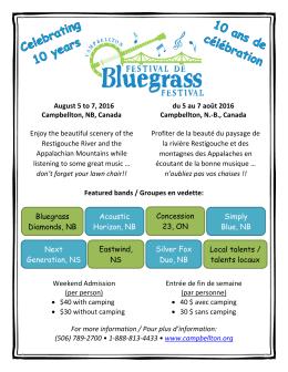 August 5 to 7, 2016 du 5 au 7 août 2016 Campbellton, NB, Canada