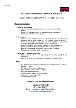 Recrutement Responsable SSLIA RNS Securitas