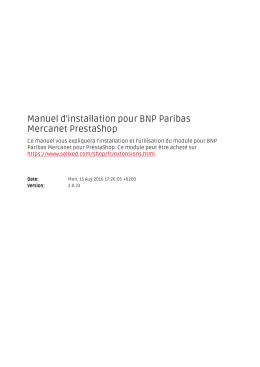 Manuel d`installation pour BNP Paribas Mercanet