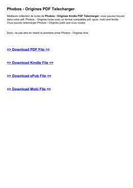 Phobos - Origines PDF Telecharger