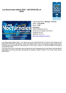 Les Nocturnales édition 2016 : LES DIVAS DE LA SOUL