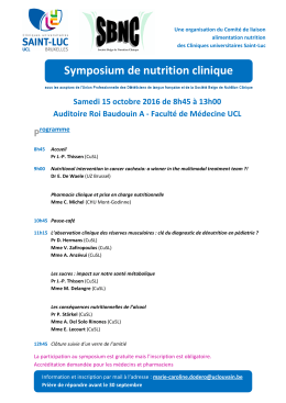 15 octobre 2016 : Symposium de nutrition clinique