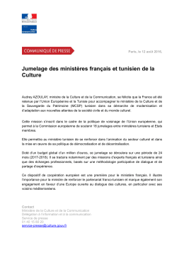 Jumelage des ministères français et tunisien de la Culture pdf