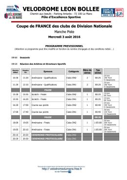 Coupe de FRANCE piste - Programme