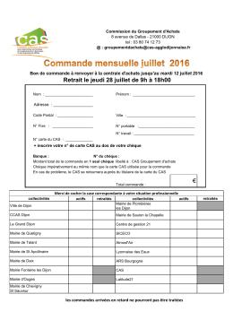 Juillet 2016 - CAS de l`agglomération Dijonnaise