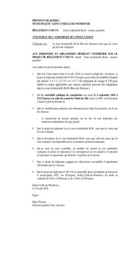 Assemblée de consultation (règlement 230-174)
