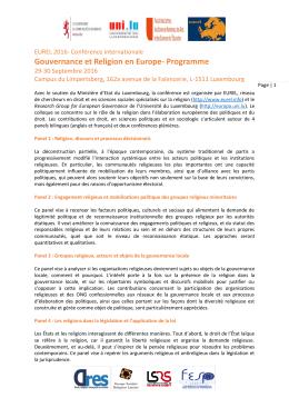 Gouvernance et Religion en Europe- Programme