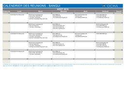 calendrier des reunions - bangui