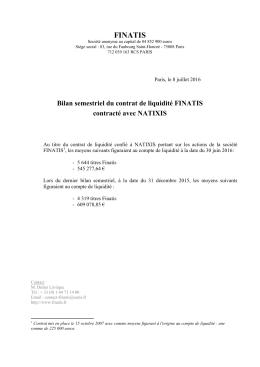 Bilan semestriel du contrat de liquidité au 30 juin 2016