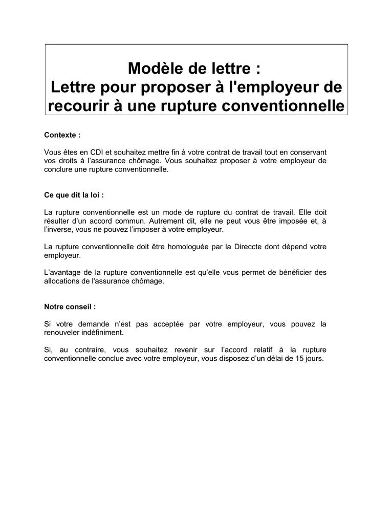 Modele De Lettre Lettre Pour Proposer A L Employeur De Recourir A