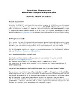 Opération « Allopneus.com RIKEN / Garantie pneumatique offerte