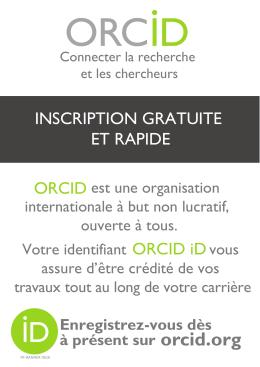 ORCID iD INSCRIPTION GRATUITE ET RAPIDE