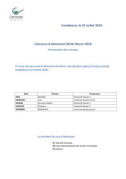 Casablanca, le 25 Juillet 2016 Concours d`admission DEUG Maroc